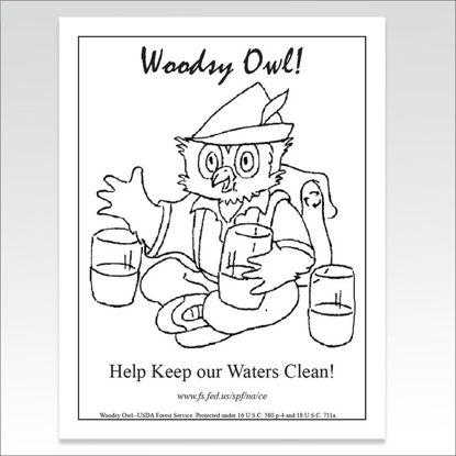 Help Keep Waters clean, free coloring sheet Woodsy Owl