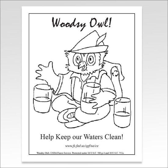 Help Keep Waters clean, free coloring sheet Woodsy Owl