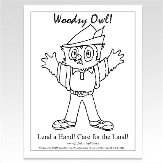 "Picture of Woodsy Owl ""Lend a Hand # 1"" Coloring Sheet"