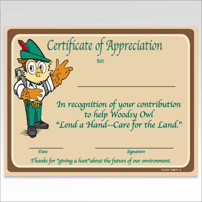 Picture of Woodsy Owl  Certificate of Appreciation