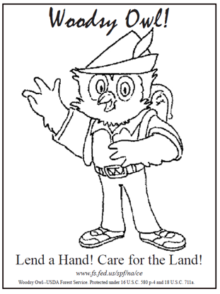"Picture of Woods Owl ""Lend a Hand #2"" Coloring Sheet"