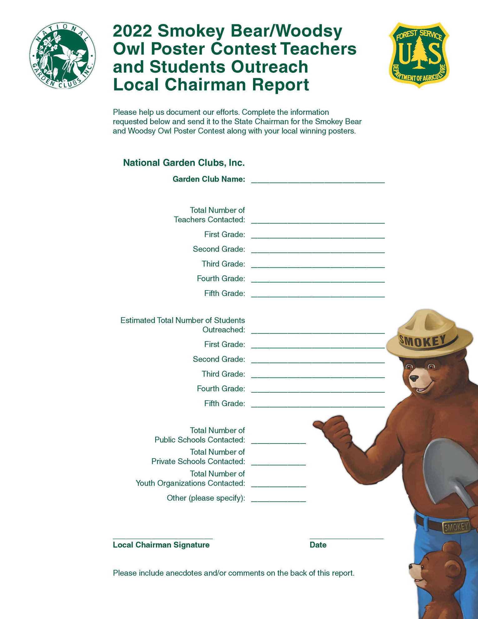 Picture of NGC Poster Contest - Local Chairman Detailed/Outreach Report