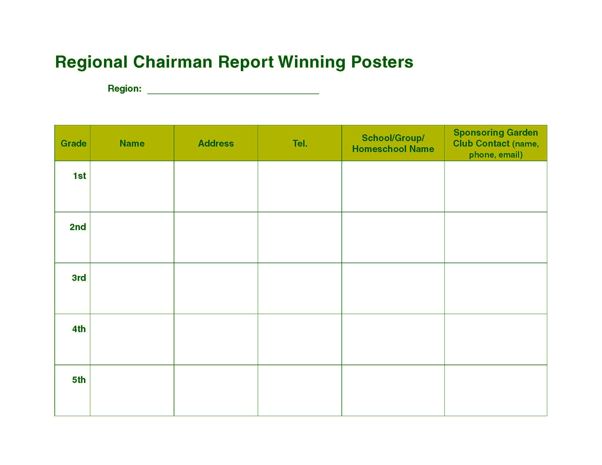 Picture of NGC Poster Contest - Regional Chairman Detailed/Outreach Report